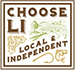 Choose Long Island Logo - a corucopia with a fish and vegetables with the words choose long island running diagonally from top left to bottom right